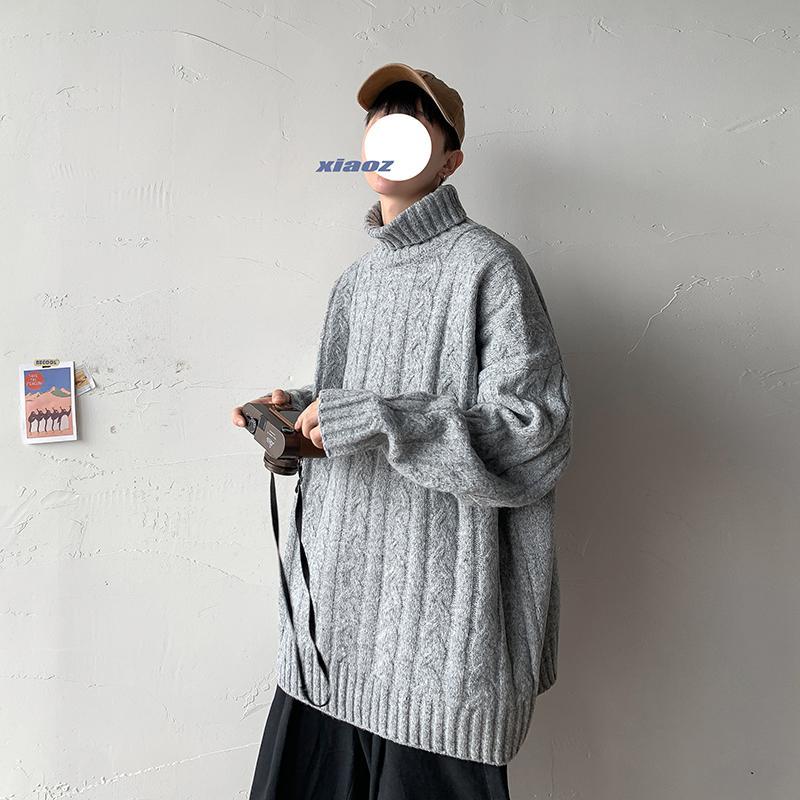 2021 Мужская Теплая Свитер Свитер TurneLEck Пуловеры вязаные свитера Осень Зима Новый Повседневная Корейская уличная одежда Одежда PONM