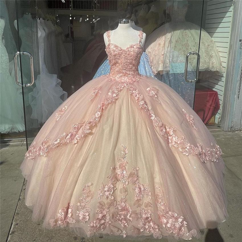 Blush Pink Sparkly Quinceanera Prom Dresses 2021 Off Shoulder Sequins Ball Gown Tulle Party Sweet 15 16 Dress Quinceañera Anos