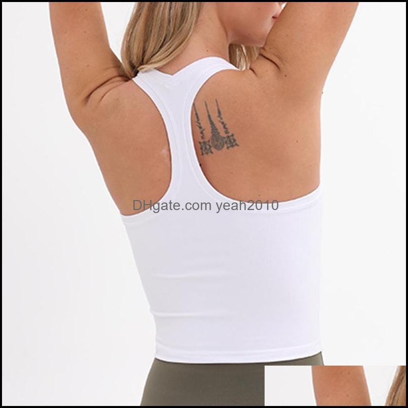 Correndo desgaste atlético vestuário ao ar livre outdoorsrunning jerseys fitness esportes colete mulheres acolchoado sutiã camisas yoga tank top drop deliv
