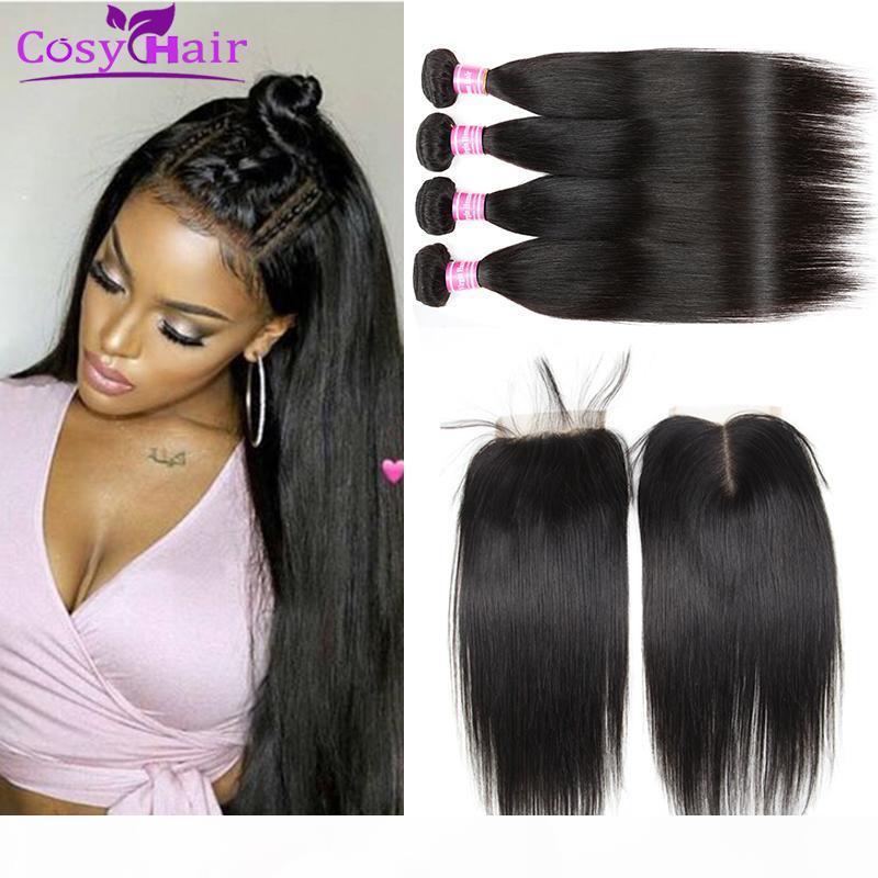 Wholesale Brasileño Virgin Hair Striaght Human Hair Tows Bundles con 4x4 Cierre de encaje Cierre Extensiones sin procesar Paquetes de tejido