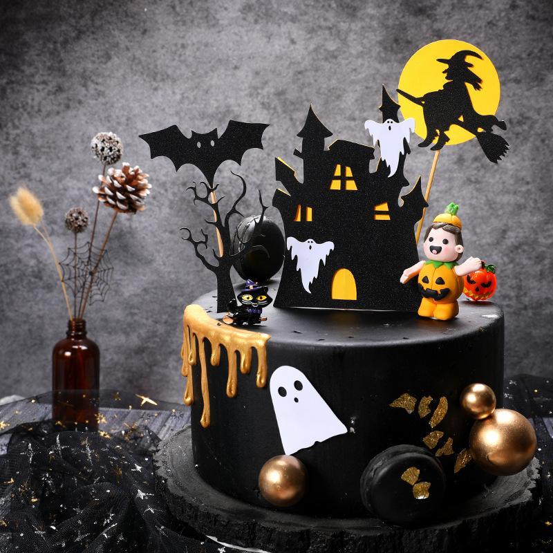 Décoration de gâteaux Chauve-souris Noir Château de sorcière Ghost Happy Halloween Cake Toppers PaperCard pour la fête de la fête d'Halloween Décor Cupcake