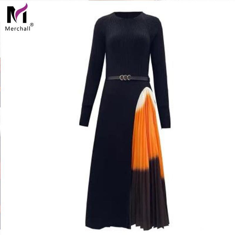 Casual Dresses Merchall Elegante Gestrickte Plissee Midi Kleid 2021 Herbst Winter Langarm Vintage Black Gradient Print Formale Party