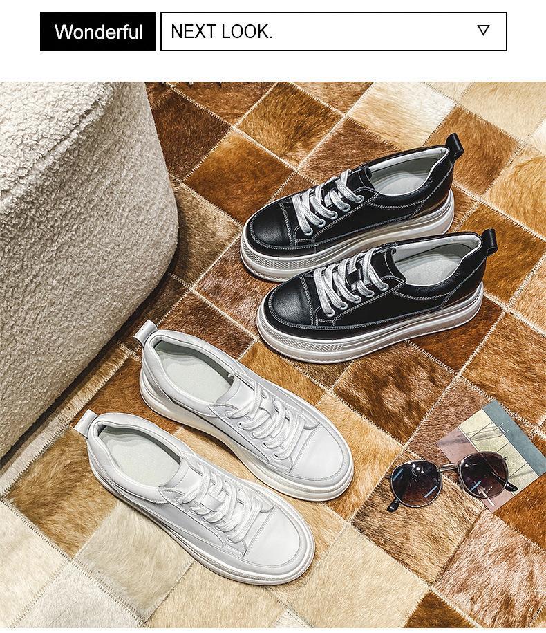 Увеличение 7,5 см для женской обуви Небольшая белая кожаная обувь Новая весна 2021 Джокер рекреационная губка для обуви на высоком каблуке платформа