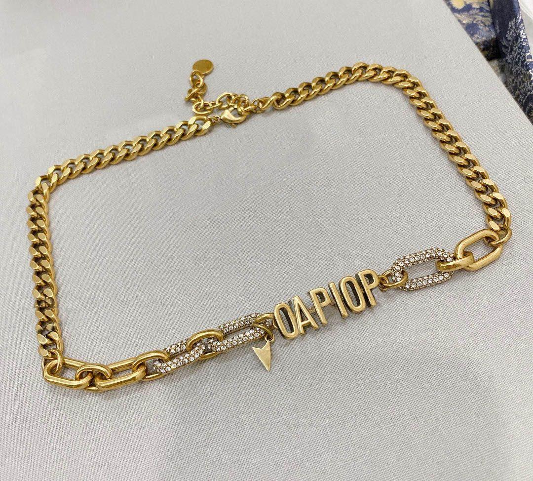 패션 초기 아이스 아웃 펜던트 초커 목걸이 Bijoux 체인 레이디 여자 파티 웨딩 애호가 선물 보석 상자