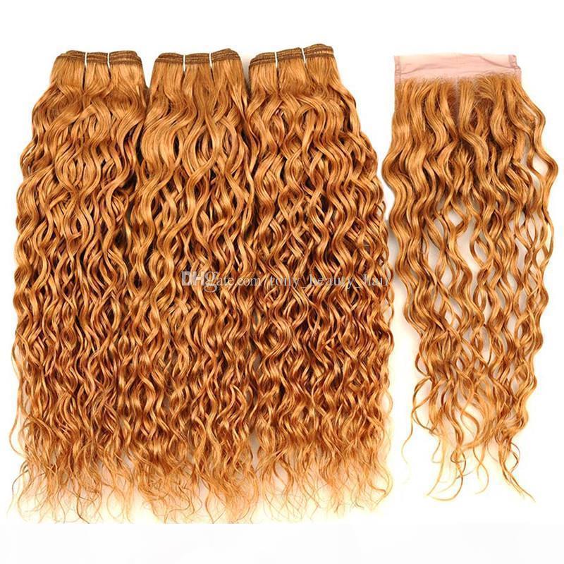 Onda de agua india miel rubia cabello humano 3 paquetes con cierre # 27 Fresa rubia rubia húmeda wavy 4x4 Cierre de encaje con tejidos de pelo virgen