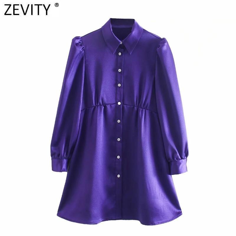 Abiti casual Zevity Donne Vintage Diamond Buttons Solid Mini Dress Mini Dress Femme Pleats Pulvello Sleeve A Line Shirt Vestido DS4822