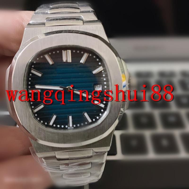 U1 Movement Engraved Mens Watch PP Automatic Mechanical Stainless Steel Transparent Back Blue Dial Men watches Sports Wristwatches