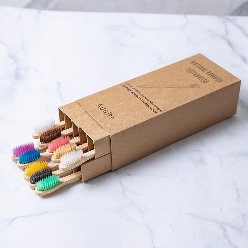 10 pcs Bambu Toothbrush Produto Eco-Friendly Produto Vegan Dente Escova Arco-íris Preto De Madeira Macio Fibra Soft Adultos Set 183 S2