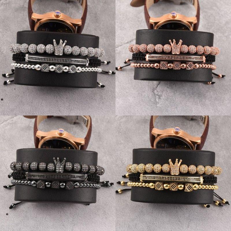 3pcs / Set Bracciale da uomo Bracciale Gioielli Corona Charms Braccialetto Braccialetto Macrame Branelli Bracciali per le donne Pulseira Masculina Pulseira Feminina Regalo 100 R2