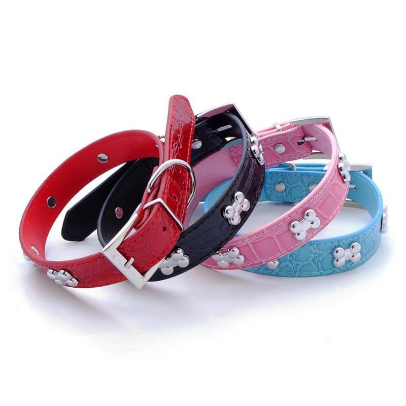 TRANSER PET SUSTRICIA DOG Suministros Cómago PU Cuero Hueso PET PET Collar Accesorio Suministro de PET Cuello Perro Para Pequeño Perro Medio
