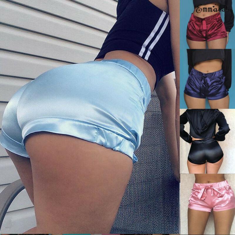 Meihuida Sexy Soft Pink Silk Satin Shorts Women High Waist Bodycon Flannel Short Pants Pantalones Mujer Fitness Sleep Wear Q0131