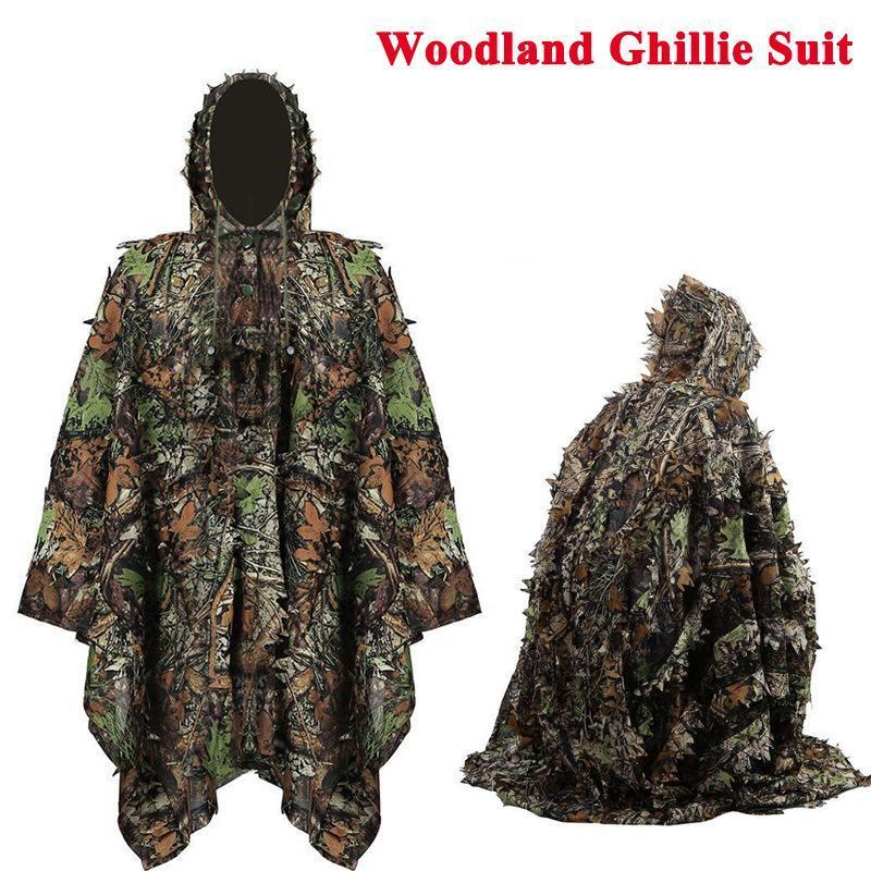 Tactical 3D Ghillie With Cap Laser Cut Bionic Sniper Army Leaves Camouflage Suit Cloak Secret Uniform