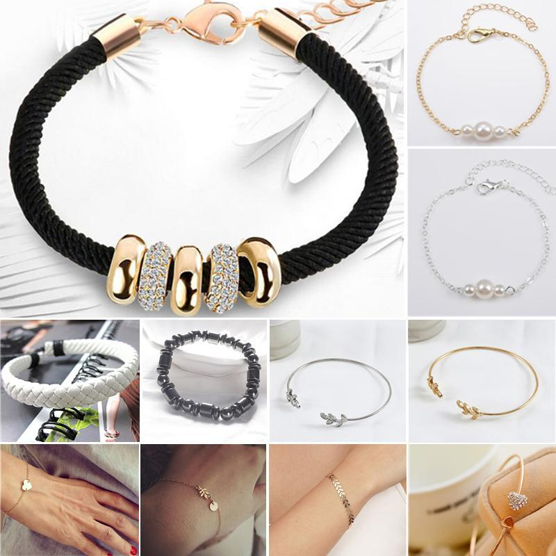 Black Classic Armband Edelstahl Paar Armband Geschenk Modeschmuck Zubehör Für Frauen Dame Perlen Armbänder