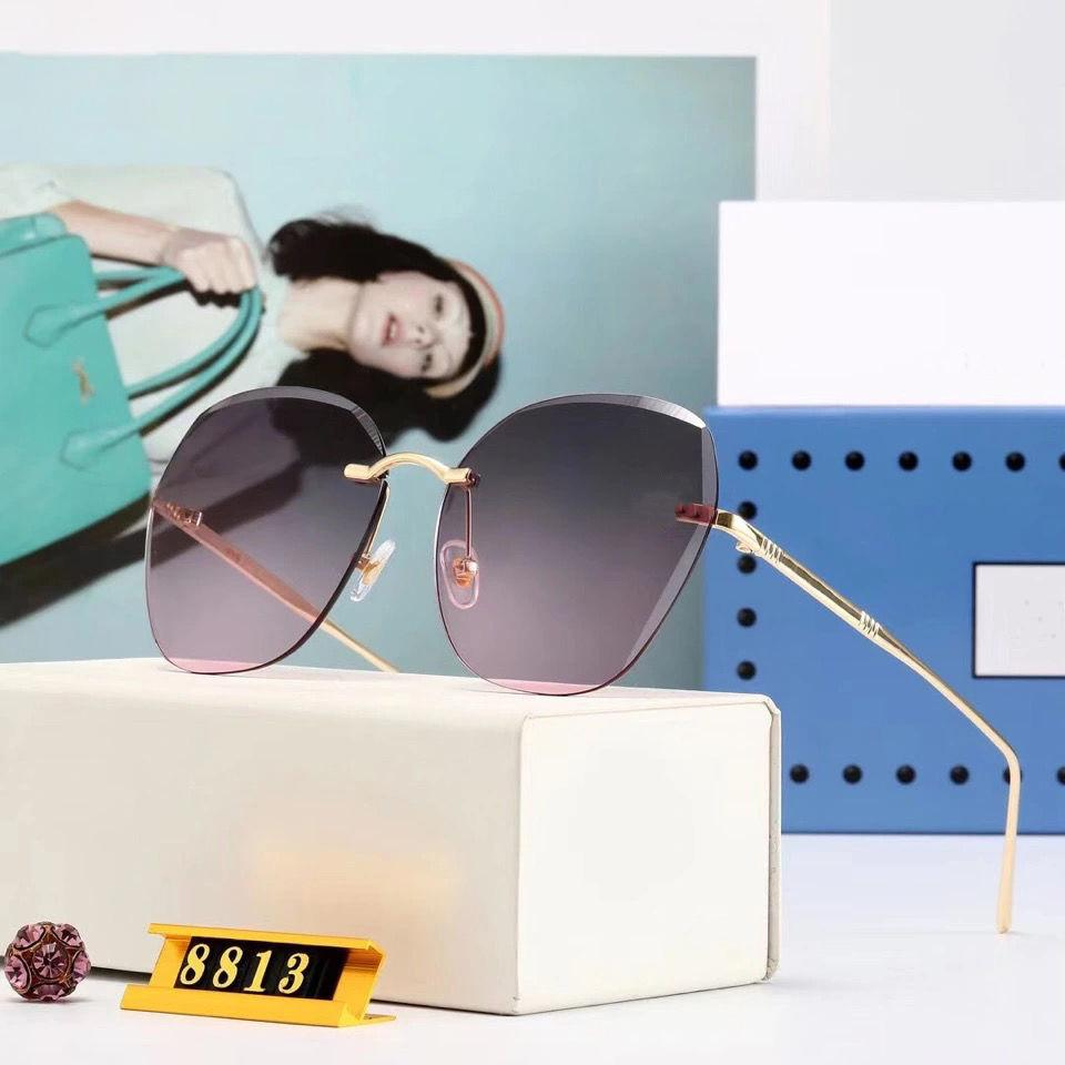 2021 Marka Yeni Lüks Güneş Gözlüğü Kare Şeffaf Degrade Çerçevesiz Güneş Gözlüğü Erkekler Ve Kadınlar için Tasarımcı Açık Moda Gözlük
