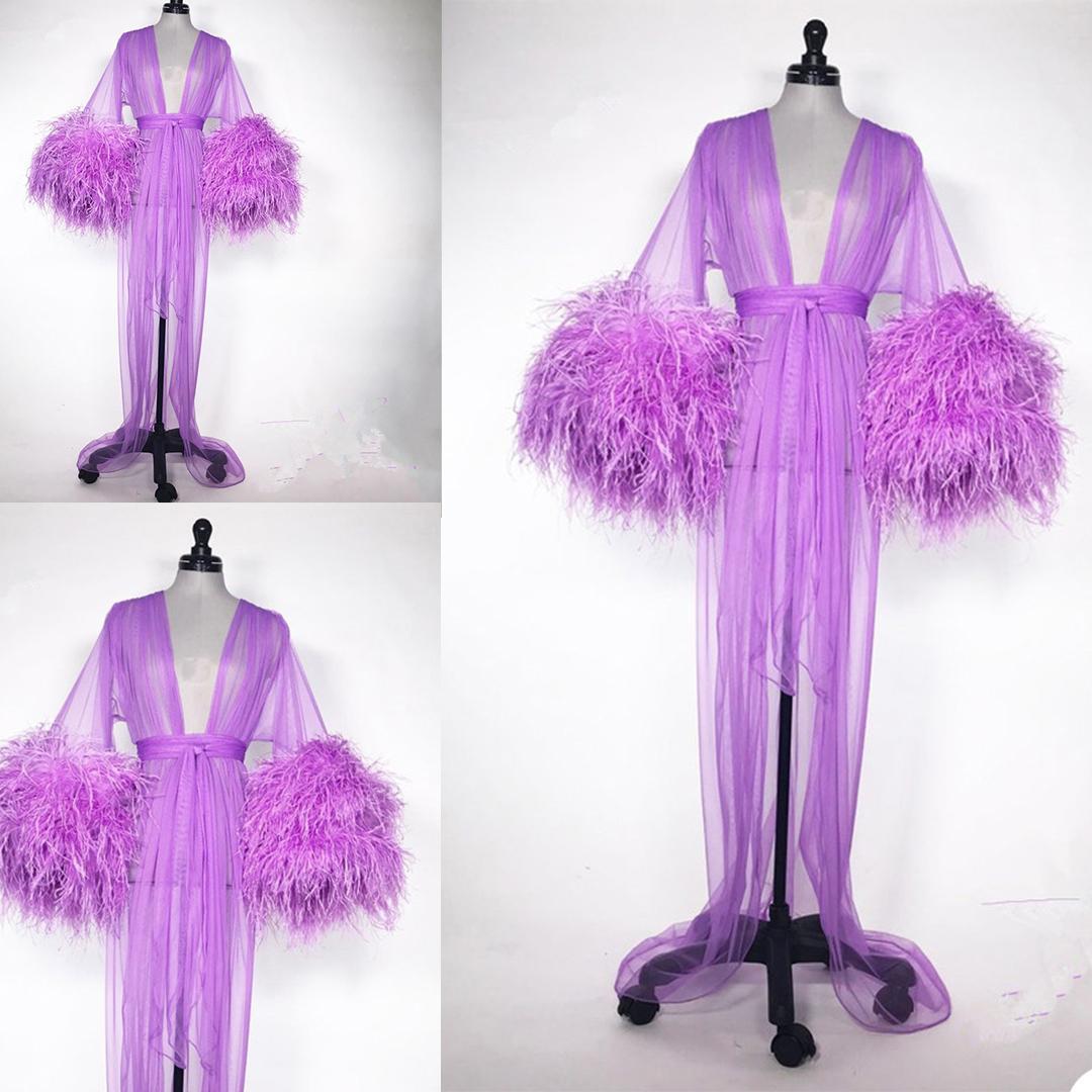 Роскошные перья невесты мантии с поясом Новый мягкий тюль Sexy V-образные шеи с длинными рукавами на заказ женщины спящие пижамы горячие продажи