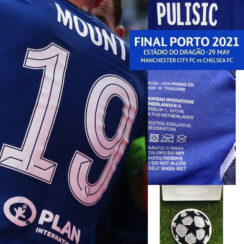 American College Football Wear Final Porto 2021 Kante Mount Havertz Havertz Jogador Worn Player Problema com MatchDetails Jersey
