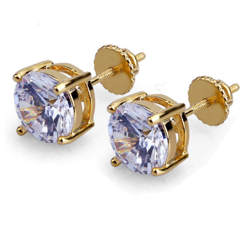 Back Findings & Components Jewelry8Mm Hip Hop Stud Earrings Sier Gold Plated Earring Mens Womens Earing Ear Ring Women Men Designer Earings