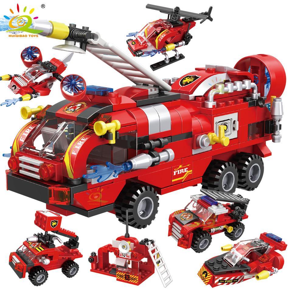 Atacado 387PCS 6in1 Fogo Fighting Trucks Barco de carro Blocos de Construção Cidade Figurão Figures Figuras Brinquedos Brinquedos