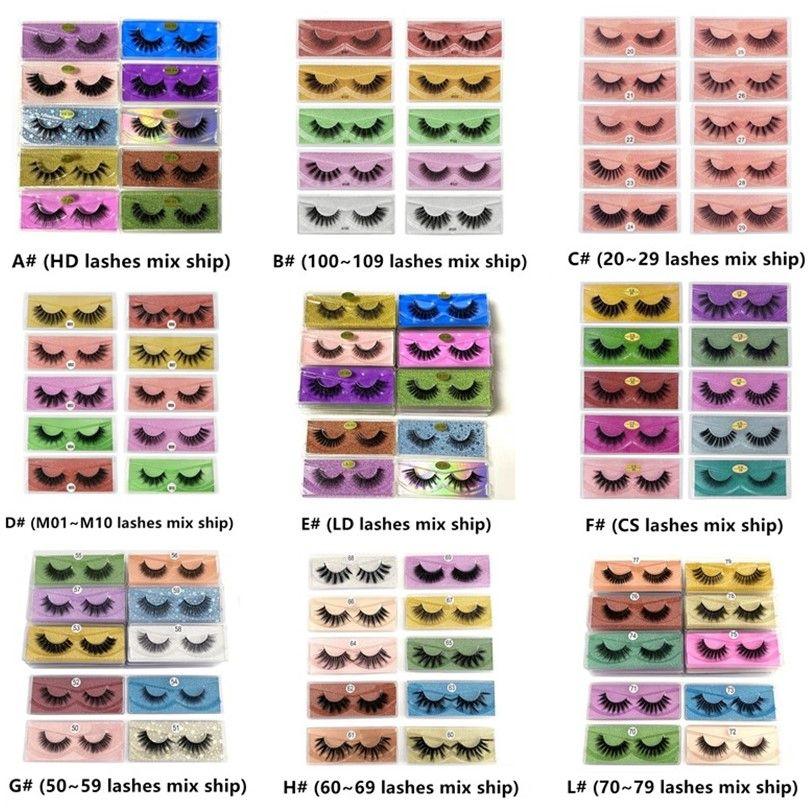 Livraison Gratuite 3D Mink Cils en gros 10 Styles 3D Mink Lashes Naturel Faux De faux Cils Maquillage Faux Lashes Extension en vrac