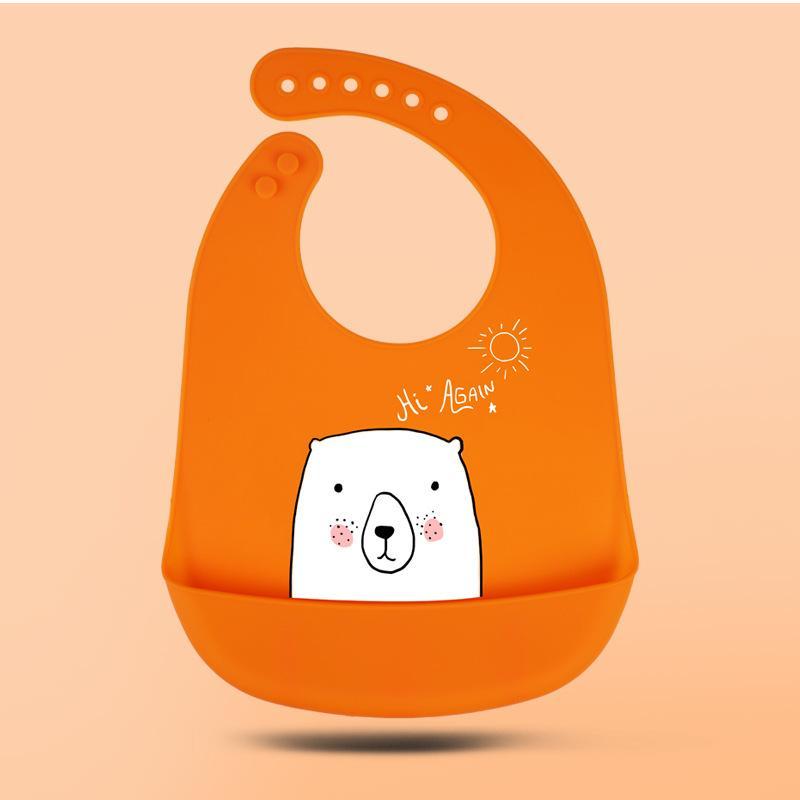 Baby Silicone Bibs 6 Colores Impermeable Almuerzo Baberos Ajustables Niños Niños Infantos Silicona Suave Bebé Saliva Dibujos animados Baby Babs DHL gratis 65 S2