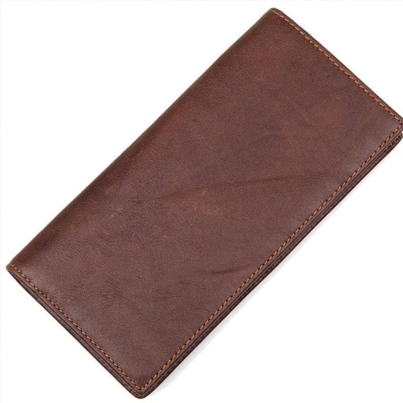 Carteras Yilunxi Retro Moda Masculina Masculina Negocio y Ocio Viril Handbag Cuero genuino Hombre de alta calidad Paquete de tarjeta Bolso Bolso