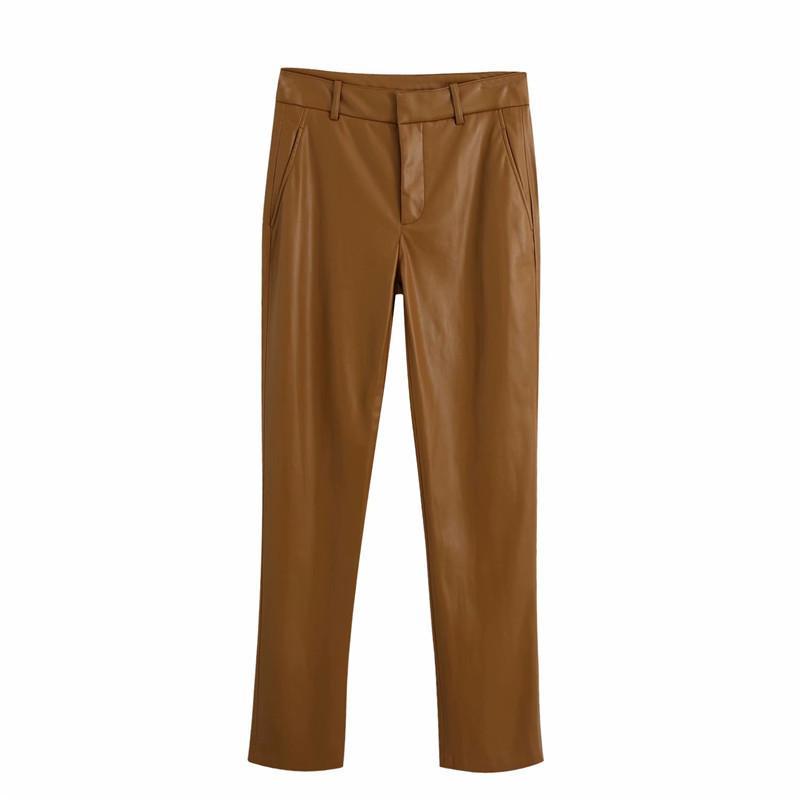 Evfer Kadınlar Sonbahar Şık Kahve Yakası ZA Uzun PU Pantolon Kadın Rahat Yüksek Bel Fermuar Faux Deri Uzun Takım Elbise Düz Pantolon 210525