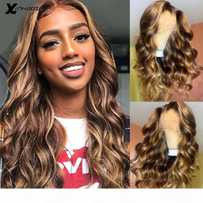 Highlight WIG Человеческие волосы T Глубокая часть 13x6 Кружева передние Оммре Блондинка Коричневые Парики Парики Парики Body Brazilian 5 * 5 '' Шелковый базовый кружевные парики