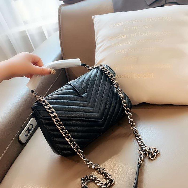 2020 Venda Quente Clássica Cadeia Lady Messenger Bag Moda Moda Alta Qualidade de Alta Qualidade Couro Saco De Ombro Portátil Senhora Saco de Compras
