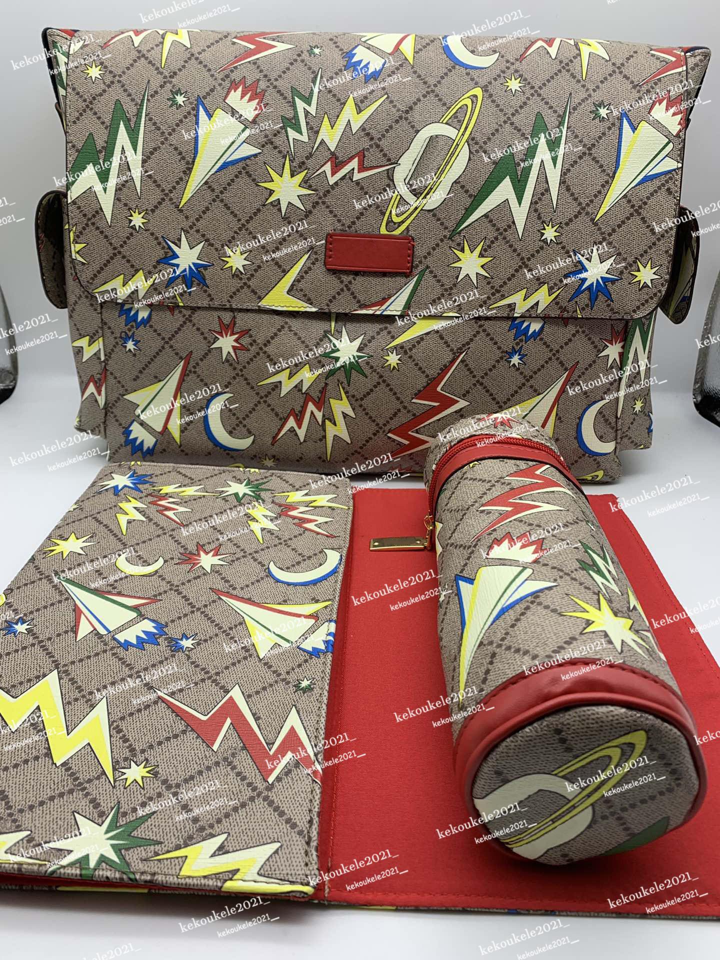 변화하는 패드와 절연 우유 병 케이스 디자이너 스타일의 기저귀 가방 아기 놀라운 미라 가방 3pcs 세트