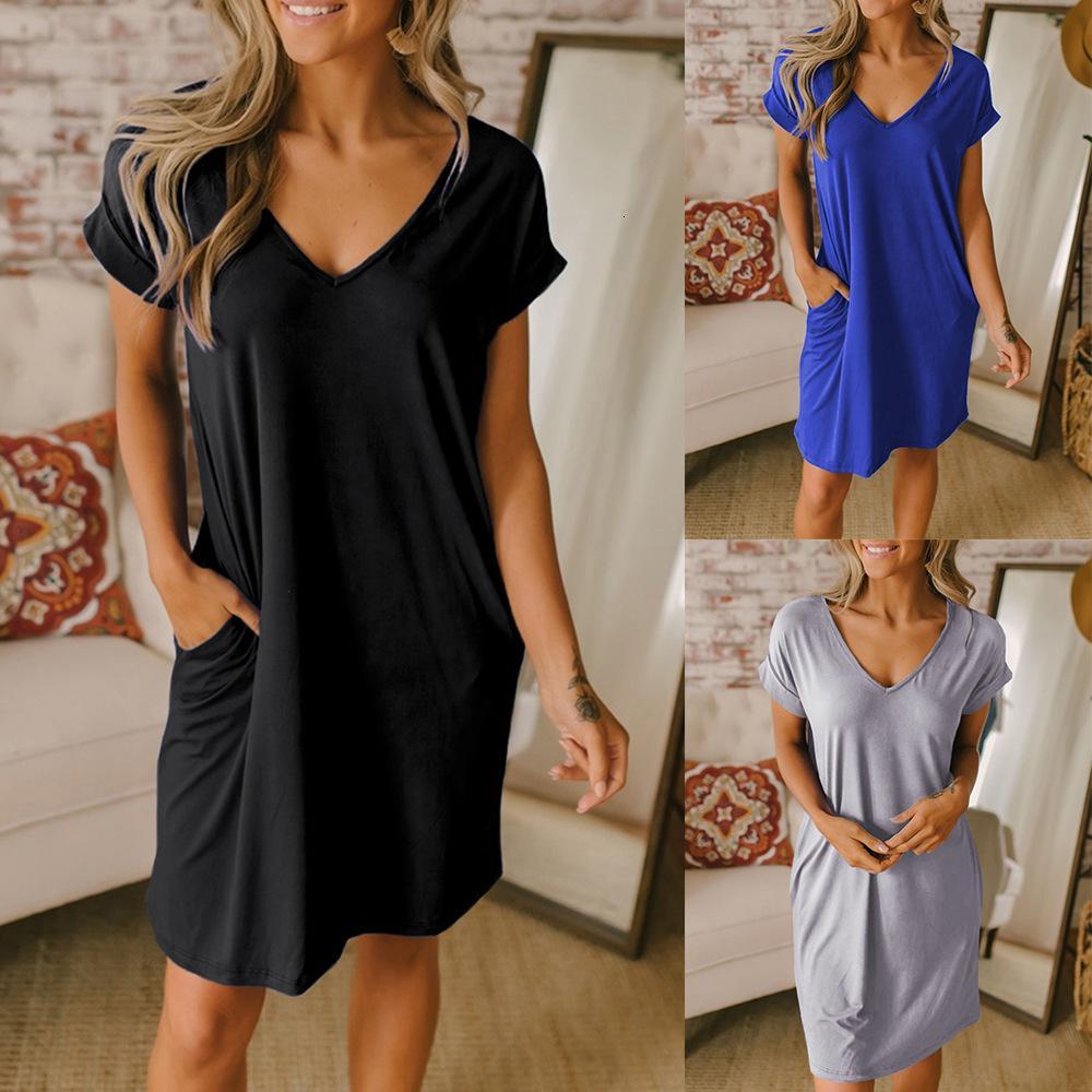 Новый сплошной цвет пуловер V-образным вырезом платье женщин повседневная рыхлая футболка юбка XIA ZHI 220761