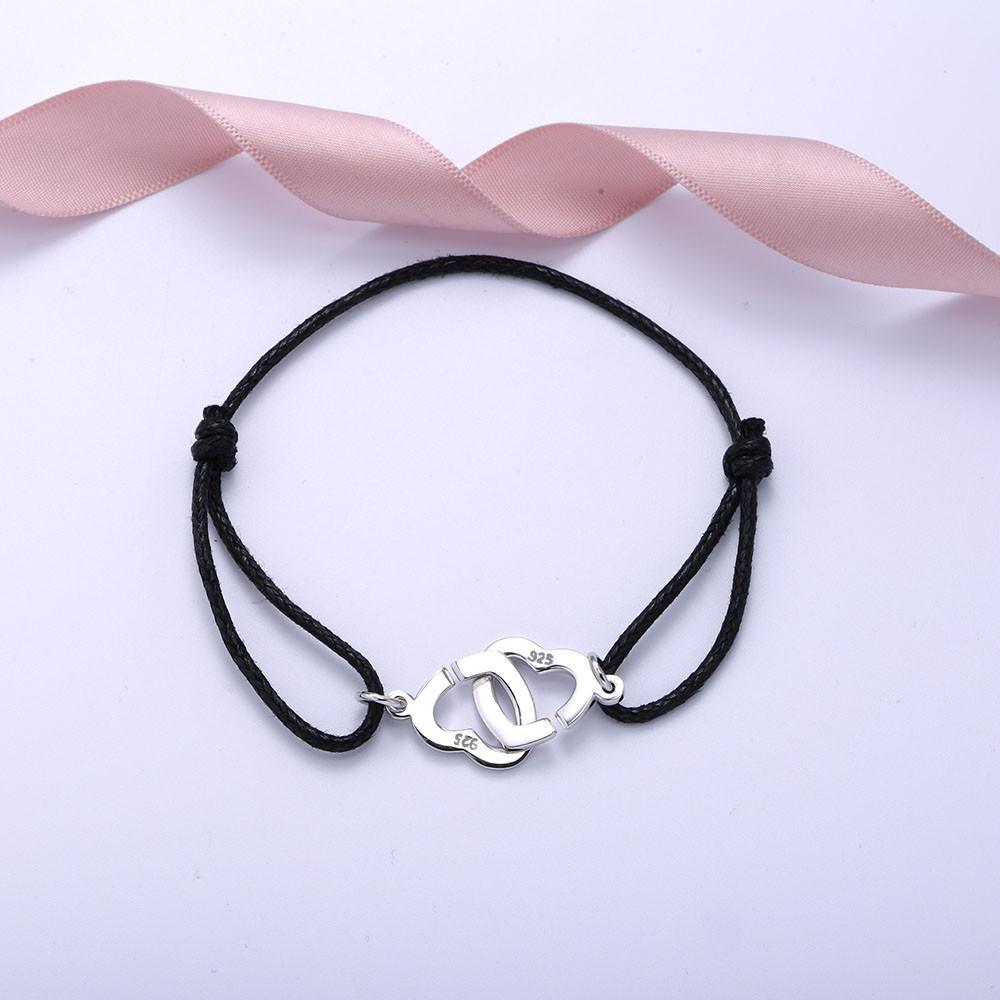 Moonmory Сердце в форме 925 Стерлингового серебра Двойные Coeurs для женщин и мужчин с черной веревкой Регулировка браслета Оптовая 0215