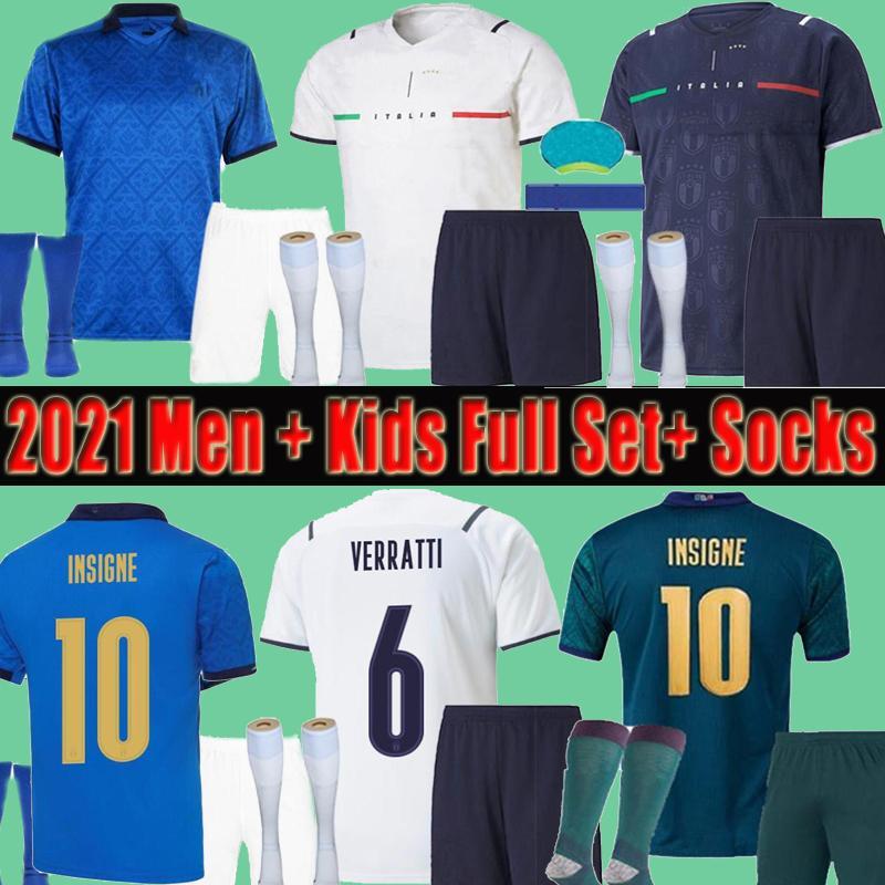 2021 Italia Men + Kids Soccer Jersey Shorts Socks Kits Juego completo 20 21 Italia Maglie da Calcio Verratti Jorginho Romagnoli Immobile Fútbol Niños Niños Camisas Conjuntos