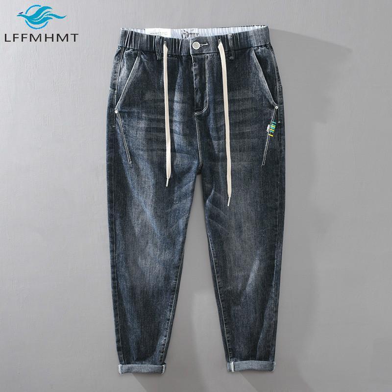 Masculino otoño elástico medio cintura calle streetwear casual suelto de mezclilla pantalón corea estilo de alta calidad vintage salvaje moderno hombre jeans pantalones vaqueros