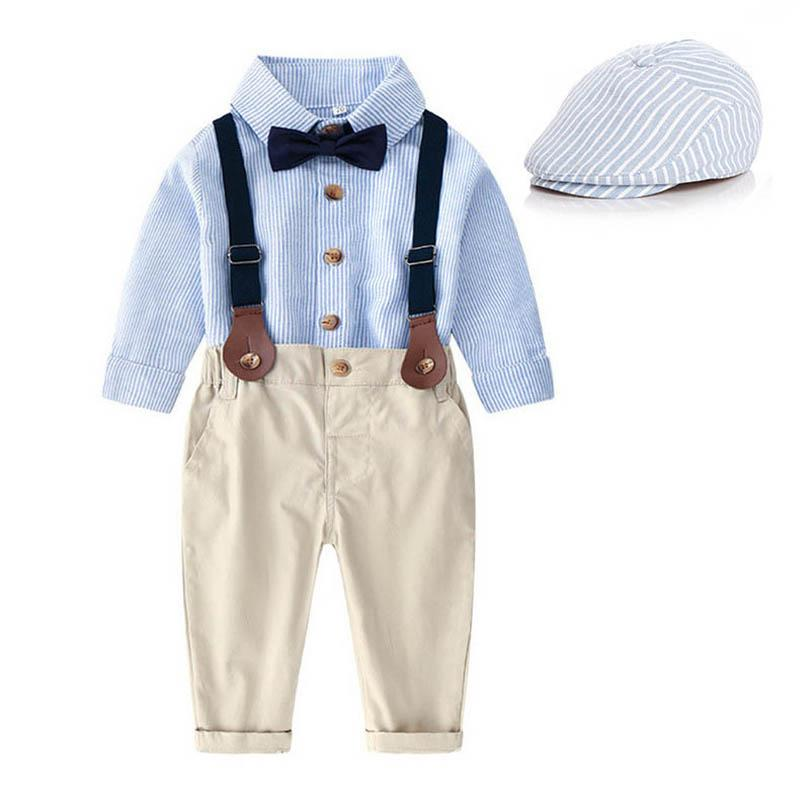 الفتيان الملابس مجموعات الطفل الدعاوى الأطفال الزي الاطفال ملابس ربيع الخريف طويلة الأكمام مخطط قمصان الحمالات السراويل السراويل رجل نبيل قبعة 3 قطع B7270