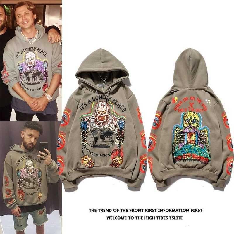 Kanye West незнакомец вещей Мужские толстовки толстовки Хараджуку Пуловер Граффити Худушка хлопчатобумажный флис зимний осенний стрит одежда X0610