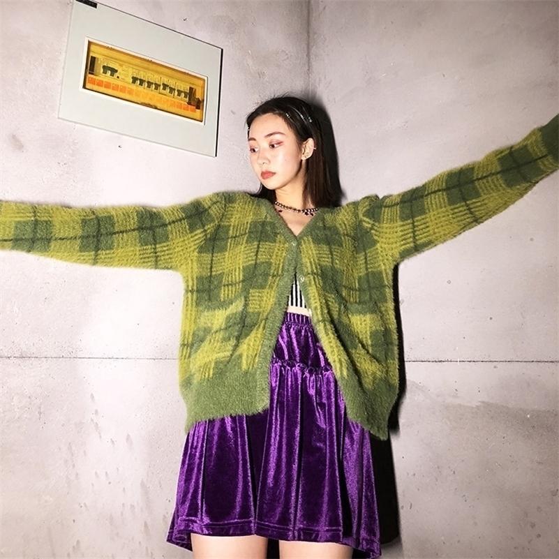 بالأزرار النساء خمر kawaii الأخضر منقوشة اقتصاص سترة زر الجبهة سترة جيب feminino مع TAG LJ201112