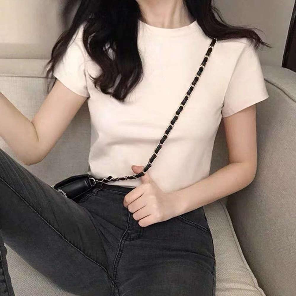 Футболки дизайнер топ женская весенняя мода европейская мини с белой базовой рубашкой и западным стилем футболка с коротким рукавом