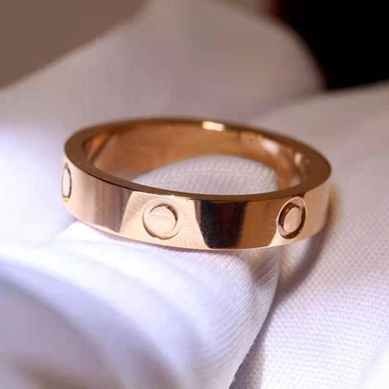 logo luxus ring box frauen 5mm edelstahl poliert rose gold zirkon modeschmuck valentinstag paar geschenk für freundin zubehör großhandel