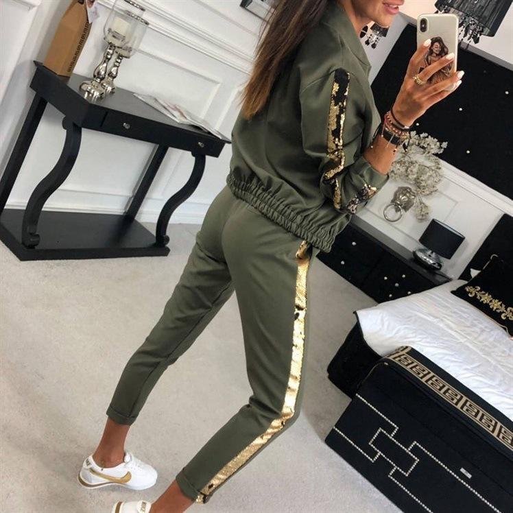 Осень 2021 мода повседневная блесток лоскутная куртка брюки спортивная одежда женская 9536