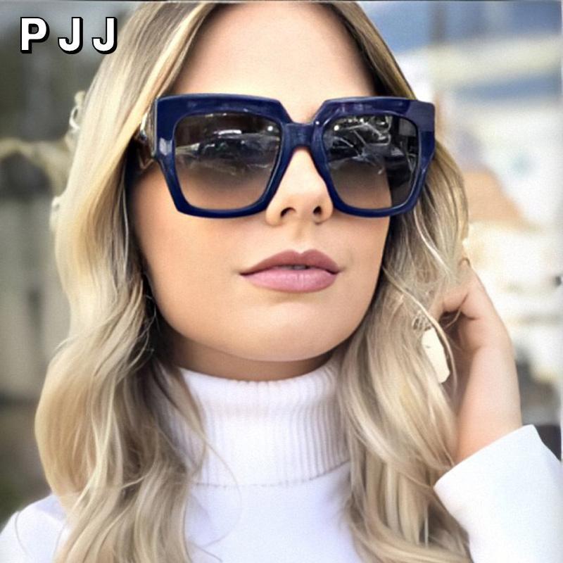 Sonnenbrillen 2021 Quadratische übergroße Damen Luxus Designer Gradient Große Rahmen Retro Brille
