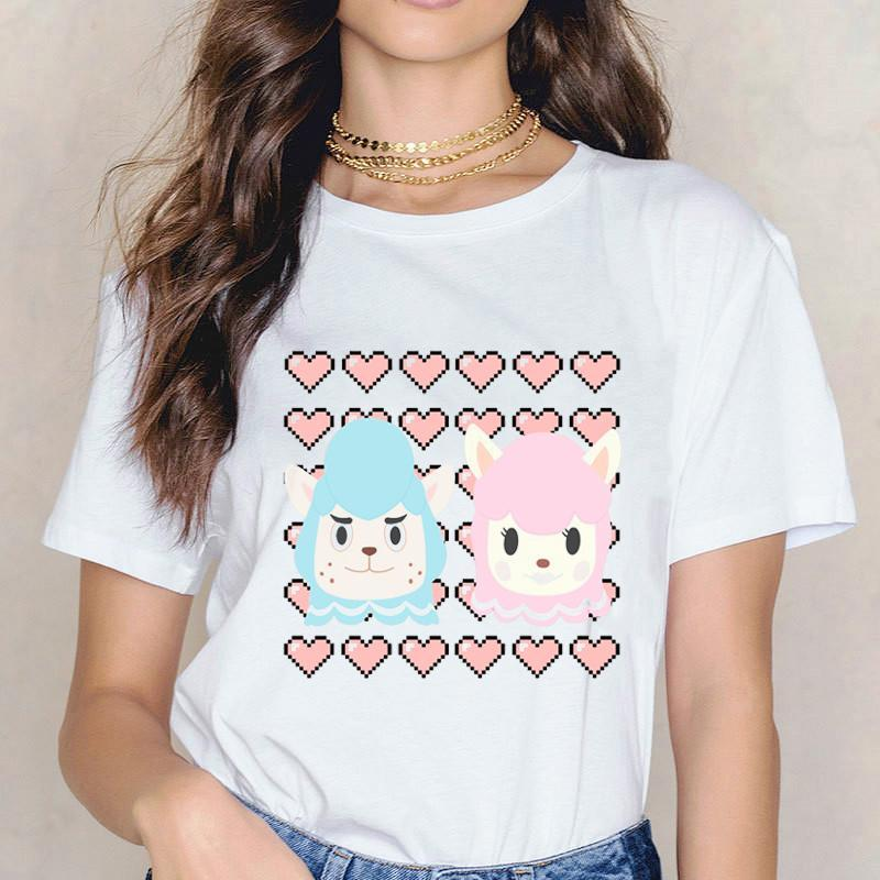 Women's T-Shirt 2021 Cute Alpaca Animals Print T Shirt Casual Fashion Boyfriend Girlfriend Love Clothes Tops Funny Couple Harajuku Tshirt