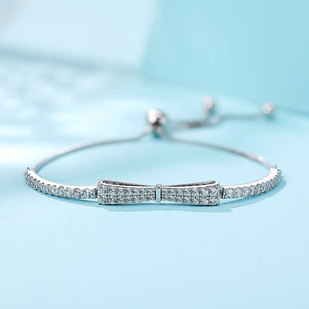 HBP Moda Luxo 2021 Novo S925 Prata Branco Diamante Mão Conjunto com Comprimento Ajustável, Moda e Simples Geometric Seiko Bracelet