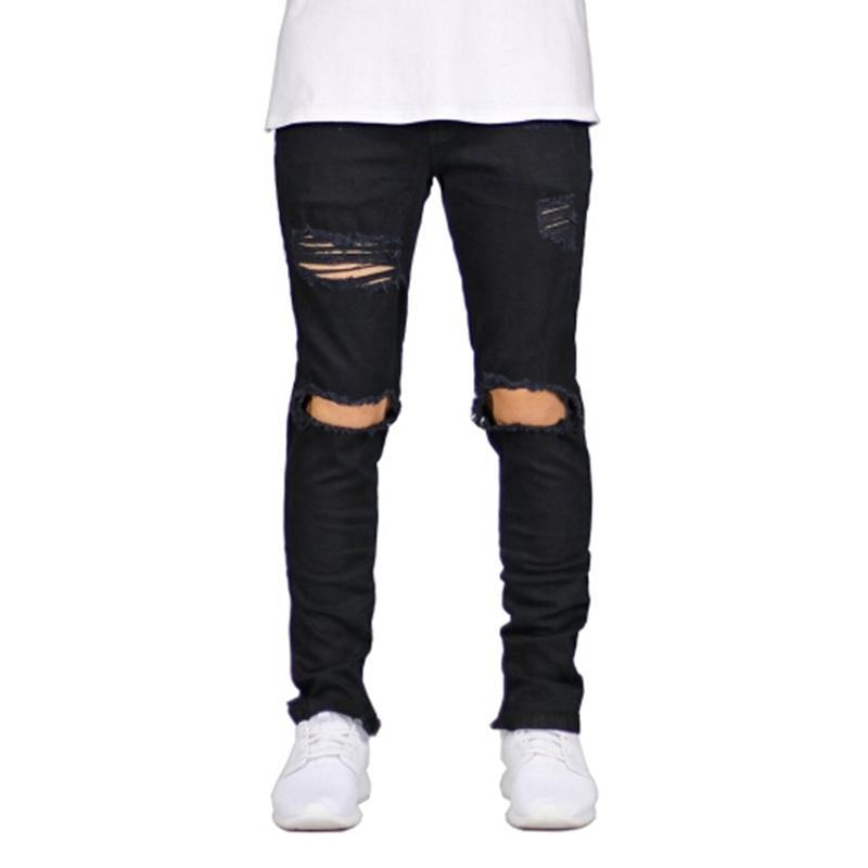 Stretch détruit Design déchiré Fashion Fashion Zipper Skinny Jeans pour hommes