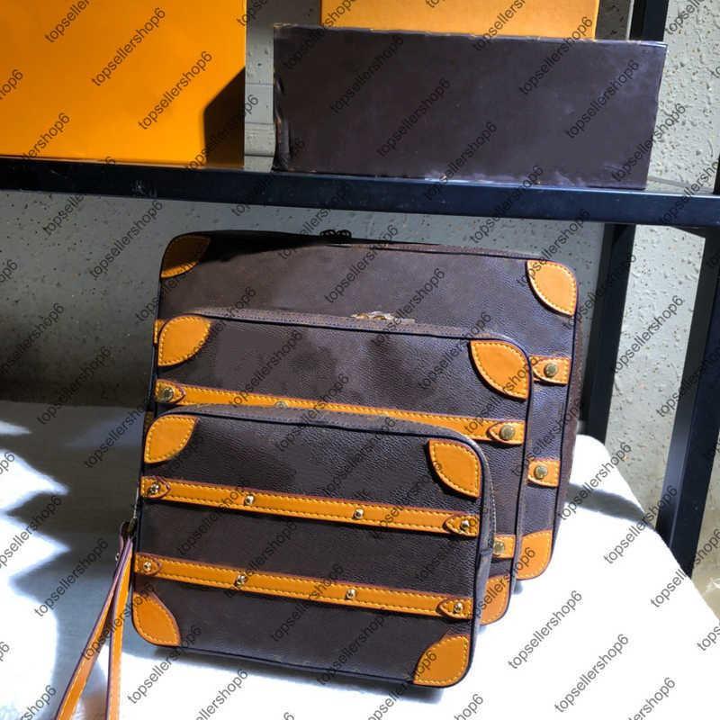 M68494 Weiche Trunk Messenger PM Leinwand Tote Herren Designer Original Rindsleder Streifen Handtasche Geldbörse Umhängetasche 3 Größe