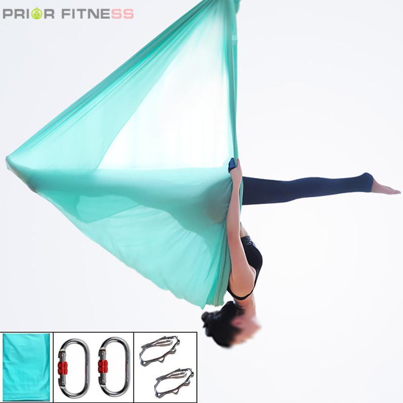 Amaca d'asta di yoga di alta resistenza ad alta resistenza fissata 5mx2.8m Anti-Gravity Yoga Cinture da yoga Swing per inversione Fly Air Nylon Home Gym Q0219