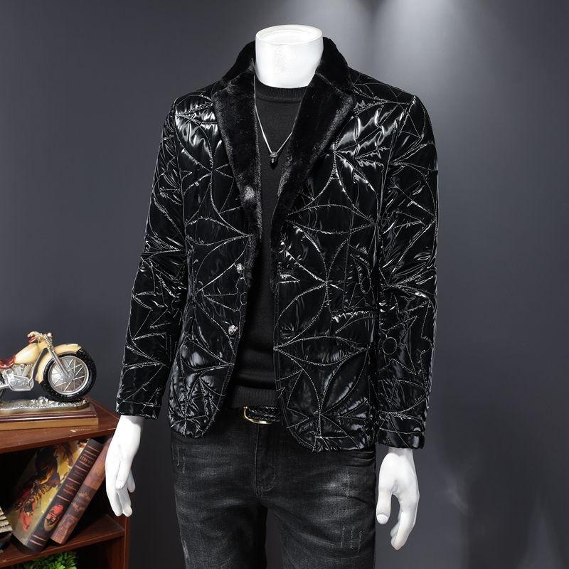 2020 Осенний мужской новый стиль хлопчатобумажная куртка костюм воротник серебряная резьба вышивка красочная осень и зимняя куртка пальто хлопковая куртка мужчины