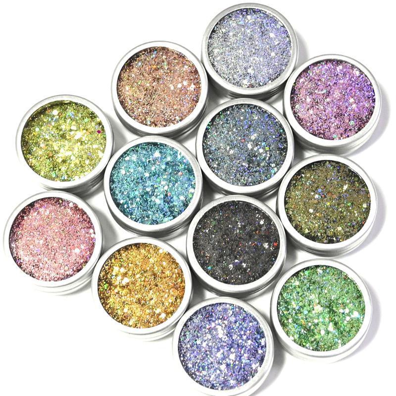 7G / Şişe 12 Renkler Tırnak Glitter Ferre DIY Lazer Altıgen Degrade Spangles Holografik Tıknaz Süper Parlak Sparkly Gevrek Te # 045