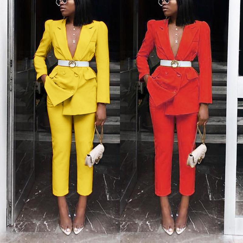 Kadın Giyim Iki Parçalı Seksi Kırmızı Parça Seti Iki Parçalı Suit Blazer Kol Parti Kıyafetler 6YGN