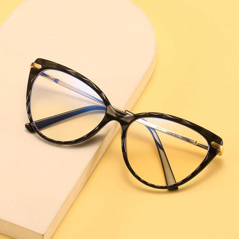 2021 Neuer Kristall Multi-Sektion Brillenrahmen Frühlingsfuß Anti Blue Flache Linsengläser