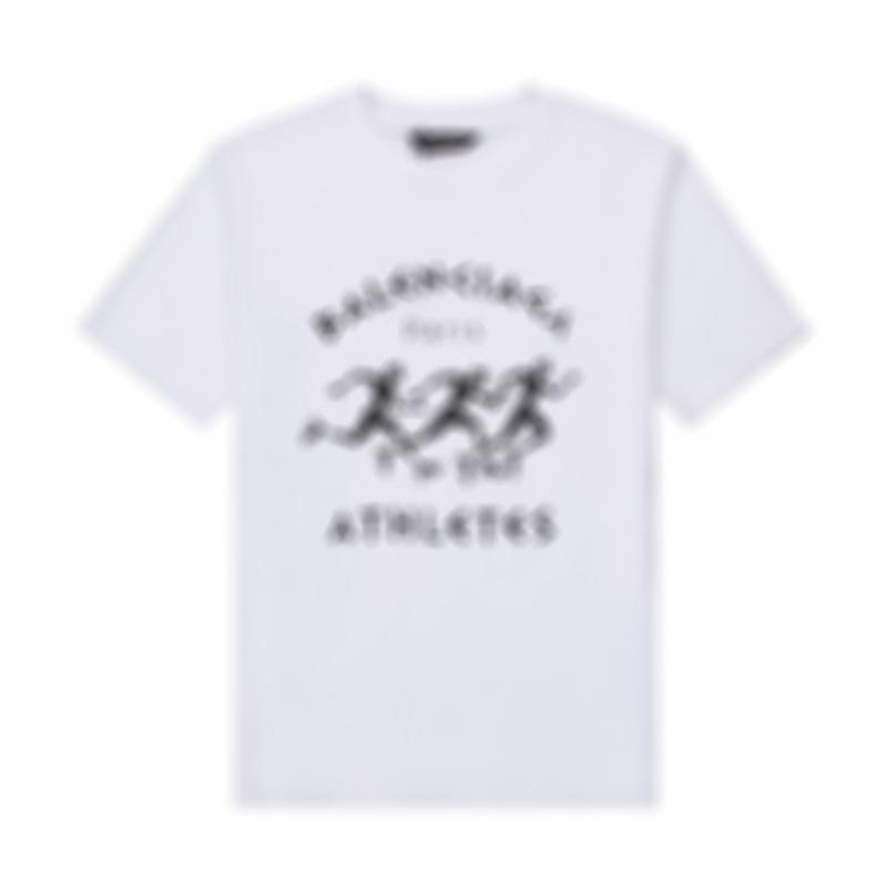 2021 Avrupa ve Fransa son moda stil basit mektup baskı bayanlar t-shirt rahat pamuk ince spor vahşi gevşek beyaz erkek t-shirt